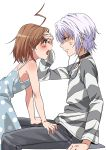 1boy 1girl accelerator albino anger_vein angry bare_shoulders blue_dress blush brown_eyes brown_hair commentary_request dress hand_on_another's_head hand_on_forehead hands_on_another's_thighs highres last_order medium_hair naguramu polka_dot polka_dot_dress red_eyes shirt short_hair silver_hair simple_background sitting spaghetti_strap striped striped_shirt to_aru_kagaku_no_railgun to_aru_majutsu_no_index upper_teeth white_background