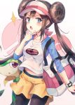 1girl :o bag black_legwear blue_eyes brown_hair collarbone cowboy_shot double_bun duffel_bag gen_5_pokemon hair_bun highres holding holding_poke_ball huwali_(dnwls3010) legwear_under_shorts long_hair looking_at_viewer mei_(pokemon) midriff_peek open_mouth pantyhose poke_ball poke_ball_(generic) pokemon pokemon_(creature) pokemon_(game) pokemon_bw2 raglan_sleeves shirt shorts sidelocks snivy sparkle standing twintails v-shaped_eyebrows very_long_hair visor_cap watch watch white_shirt yellow_shorts