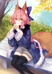 1girl animal_ear_fluff animal_ears bench blue_ribbon fate/grand_order fate_(series) food fox_ears fox_girl fox_tail grey_sweater holding holding_food jacket leaf long_hair long_sleeves looking_at_viewer pink_hair ribbon sitting smile sweater tagme tail tamamo_(fate)_(all) tamamo_no_mae_(fate) thigh-highs yellow_eyes yuya_(night_lily)