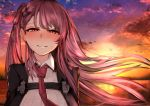 1girl bangs bird blush breasts clouds eyebrows_visible_through_hair girls_frontline highres katagiri_ags long_hair looking_at_viewer necktie outdoors purple_hair side_ponytail smile solo sunset violet_eyes wa2000_(girls_frontline)
