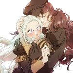 2girls artist_name blush brown_hair darkgreyclouds dorothea_arnault earrings edelgard_von_hresvelg eyebrows_visible_through_hair eyelashes fire_emblem fire_emblem:_three_houses garreg_mach_monastery_uniform hair_ribbon hand_on_another's_head hat hug jewelry long_hair multiple_girls ribbon school_uniform silver_hair simple_background upper_body violet_eyes wavy_hair white_background yuri