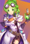 1girl belt black_gloves candy closed_mouth coke-bottle_glasses cute eyewear_on_head fire_emblem fire_emblem:_seima_no_kouseki fire_emblem:_the_sacred_stones fire_emblem_heroes flask food glasses gloves green_eyes green_hair halloween_costume holding holding_lollipop intelligent_systems jurge l'arachel_(fire_emblem) lollipop moe nintendo parted_lips scientist simple_background smile solo