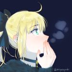 1girl ahoge artoria_pendragon_(all) black_bow blonde_hair blue_background bow choker covering_mouth fate/unlimited_codes fate_(series) from_side green_eyes hair_bow hand_over_own_mouth karakuri2357 long_sleeves portrait profile saber_lily shiny shiny_hair short_hair simple_background solo twitter_username