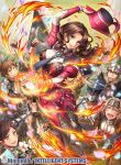 1girl 6+boys arm_up armor brown_hair closed_eyes closed_mouth company_name copyright_name dorothea_arnault earrings fire fire_emblem fire_emblem:_three_houses fire_emblem_cipher flame flower fumi_(butakotai) green_eyes hat helmet holding holding_hat jewelry long_hair long_sleeves multiple_boys necktie official_art open_mouth petals smile