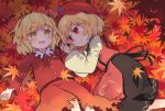 2girls :d aki_minoriko aki_shizuha autumn_leaves blonde_hair commentary_request eyebrows_visible_through_hair food fruit grapes hair_ornament hairband hat highres juliet_sleeves kibisake leaf_hair_ornament long_sleeves lying mob_cap multiple_girls on_back on_side open_mouth puffy_sleeves red_eyes red_hairband red_headwear red_shirt red_skirt shirt short_hair siblings sisters skirt smile touhou wide_sleeves yellow_eyes
