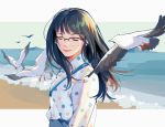 1girl beach bird blue_sky closed_eyes day glasses highres ibex original outdoors polka_dot seagull shirt sketch sky smile standing white_shirt