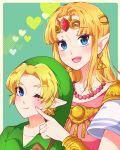 1boy 1girl :d ;t adult bangs bead_necklace beads blonde_hair blue_eyes blush bracer cheek_poking child circlet closed_mouth earrings elf eyebrows_visible_through_hair forehead_jewel gem green_background green_headwear heart height_difference hylian indisk_irio jewelry link long_hair necklace nintendo nintendo_ead open_mouth parted_bangs pointy_ears poking princess_zelda ruby_(gemstone) short_sleeves shoulder_armor sidelocks smile spaulders super_smash_bros. super_smash_bros_melee tabard the_legend_of_zelda the_legend_of_zelda:_a_link_between_worlds the_legend_of_zelda:_a_link_to_the_past the_legend_of_zelda:_ocarina_of_time triforce upper_body wavy_mouth young young_link