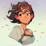 1girl absurdres ajna_(indivisible) beads brown_eyes brown_hair closed_mouth commentary cropped_torso dark_skin english_commentary hair_ornament highres indivisible jewelry looking_at_viewer petals portrait samuelyounart shirt short_hair smile solo white_shirt wind