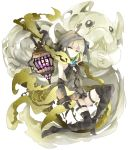 1girl absurdres bangs bare_shoulders black_footwear black_gloves black_legwear boots closed_mouth commentary_request eyebrows_visible_through_hair gloves green_eyes green_hair gretel_(sinoalice) hands_clasped hansel_(sinoalice) highres hood hood_up interlocked_fingers lantern light_brown_hair looking_at_viewer multicolored_hair own_hands_together simple_background sinoalice solo thigh-highs thigh_boots tsukiyo_(skymint) two-tone_hair white_background