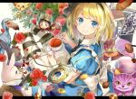 1girl alice_(wonderland) alice_in_wonderland apron back_bow black_ribbon blonde_hair blue_dress blue_eyes book bow card checkerboard_cookie cheshire_cat commentary cookie crown cup dodo_(bird) dress flower food glasses hair_ribbon hat hat_ornament heart heart_print highres holding holding_cup instrument looking_at_viewer neck_ruff piyo_(sqn2idm751) playing_card pocket_watch puffy_short_sleeves puffy_sleeves queen_of_hearts rabbit red_dress red_ribbon ribbon rose saucer scepter short_hair short_sleeves smile striped striped_legwear tea teacup trumpet watch white_bow white_rabbit