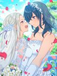 2girls bare_shoulders bead_necklace beads blue_eyes blue_sky blurry bouquet bridal_veil byleth_(fire_emblem) byleth_(fire_emblem)_(female) depth_of_field dress earrings edelgard_von_hresvelg eye_contact fire_emblem fire_emblem:_three_houses flower green_hair highres hoshido1214 jewelry long_hair looking_at_another medium_hair multiple_girls necklace petals silver_hair sky smile upper_body veil violet_eyes wedding_dress white_dress wife_and_wife yuri
