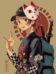 1boy artist_name backpack bag baseball_cap black_headwear black_shirt bright_pupils brown_background brown_eyes brown_hair checkered checkered_skirt commentary contemporary earrings fox_mask fox_shadow_puppet from_side hanafuda hat highres jewelry kamado_tanjirou katana kimetsu_no_yaiba long_sleeves looking_at_viewer male_focus mask nanaminn open_mouth print_hat print_shirt rope shimenawa shirt short_hair short_over_long_sleeves short_sleeves signature skirt solo standing sword t-shirt upper_body weapon white_pupils