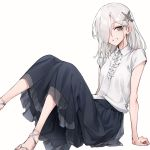 1girl arm_support bangs black_skirt collared_shirt commentary eyebrows_visible_through_hair foot_out_of_frame frilled_shirt frills grey_eyes grey_hair hair_ornament hair_over_one_eye highres leg_up looking_at_viewer medium_hair medium_skirt oopartz_yang original pleated_skirt sandals shiny shiny_hair shirt short_sleeves simple_background sitting skirt smile solo uma_(oopartz_yang) white_background white_shirt