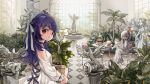 2girls ahoge bird black_choker blue_hair blue_ribbon blurry braid breasts brown_eyes cake_stand choker commentary conservatory copyright_request crown_braid cup depth_of_field dress english_commentary flower flower_pot food hair_ribbon indoors multiple_girls one_side_up ribbon rye-beer silver_hair sitting small_breasts statue tea_set teacup teapot white_dress white_ribbon