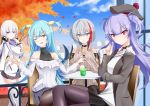 4girls ;d admiral_graf_spee_(azur_lane) ahoge ajax_(azur_lane) aran_sweater autumn_leaves azur_lane bangs bare_shoulders beret black_choker black_headwear black_ribbon black_skirt blue_eyes blue_hair blue_skirt blue_sky blush breasts brown_eyes brown_legwear brown_skirt brown_sweater building chair choker closed_mouth clouds collarbone commentary_request covered_collarbone cup day drinking drinking_glass drinking_straw eyebrows_visible_through_hair hair_between_eyes hair_ribbon hat hebitsukai-san highres holding holding_cup illustrious_(azur_lane) long_hair long_sleeves looking_at_viewer medium_breasts mole mole_under_eye multicolored_hair multiple_girls neptune_(azur_lane) off-shoulder_sweater off_shoulder on_chair one_eye_closed open_mouth outdoors pantyhose pleated_skirt purple_hair railing redhead ribbon shell_hair_ornament silver_hair sitting skirt sky sleeves_past_wrists smile streaked_hair sweater table two_side_up very_long_hair violet_eyes white_coat white_sweater window