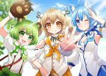 3girls animal_ear_fluff animal_ears animare bear_ears bear_hair_ornament bear_paws black_ribbon bow dog_ears gloves green_bow green_footwear green_hair green_skirt hair_ornament haneru_channel highres hinokuma_ran inaba_haneru_(animare) multiple_girls orange_skirt paw_gloves paws ribbon skirt souya_ichika usaba_(usabara_c) virtual_youtuber