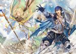 1boy 1girl armor blonde_hair blue_cape blue_eyes blue_hair blue_sky brother_and_sister cape chrom_(fire_emblem) closed_eyes closed_mouth company_name copyright_name day emmeryn_(fire_emblem) facial_mark falchion_(fire_emblem) fire_emblem fire_emblem_awakening fire_emblem_cipher forehead_mark gloves holding holding_staff holding_sword holding_weapon itou_misei long_hair official_art open_mouth outdoors short_hair siblings sky staff sword weapon