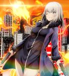 1girl black_dress blue_coat blue_eyes cityscape coat commentary cosplay day dress dual_wielding dutch_angle eyebrows_visible_through_hair fate/grand_order fate_(series) fire flame girls_und_panzer grin gun handgun highres holding holding_gun holding_weapon itsumi_erika jeanne_d'arc_(alter)_(fate) jeanne_d'arc_(alter)_(fate)_(cosplay) jeanne_d'arc_(fate)_(all) jewelry lens_flare long_sleeves looking_at_viewer medium_hair necklace one_eye_closed open_clothes open_coat orange_sky outdoors short_dress silver_hair sky smile solo standing tom_(drpow) weapon