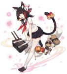 1girl animal_ear_fluff animal_ears azur_lane bag ball bell black_footwear black_hair black_sailor_collar black_skirt bow bread breasts cannon cat_ears cat_girl cat_tail food food_in_mouth fox_mask full_body hair_bow hair_ornament holding holding_bag jingle_bell large_breasts leg_up loafers looking_at_viewer lunchbox mask mask_on_head midriff_peek miniskirt mouth_hold neckerchief official_art onigiri pencil petals pleated_skirt rain_lan red_eyes red_neckwear sailor_collar school_bag school_uniform serafuku shirt shoes short_hair short_sleeves skirt solo tail tail_bow tail_raised thigh-highs transparent_background white_legwear white_shirt x_hair_ornament yamashiro_(azur_lane) yamashiro_(street_corner_offensive!)_(azur_lane) zettai_ryouiki