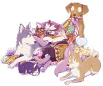 1boy 720_72 animal animal_ears animalization bandages bangs blanket brown_hair capelet closed_eyes dark_skin dark_skinned_male dog dog_ears dog_paws dog_tail feathers full_body fur_trim furry hair_feathers headband looking_at_another lying male_focus matsuno_choromatsu matsuno_ichimatsu matsuno_juushimatsu matsuno_karamatsu matsuno_osomatsu matsuno_todomatsu mouth_hold nose_bubble on_side osomatsu-kun osomatsu-san pants paws rope sash simple_background sleeping stitches tail white_background
