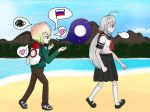 1_boy 1_girl flag hair_ornament heart kagarin_yuri moon silver_hair sora_(super_danganronpa_another_2) super_danganronpa_another_2 walking white_hair