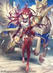 1girl blue_sky breastplate company_name copyright_name cordelia_(fire_emblem) day feathers fire_emblem fire_emblem_awakening fire_emblem_cipher full_body grin hair_ornament holding holding_weapon long_hair official_art outdoors pegasus polearm red_eyes redhead sky smile solo umiu_geso weapon wing_hair_ornament