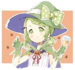 1girl bangs blush bow braid brown_background cape choker closed_mouth commentary_request cropped_torso cup drink drinking_glass gloves green_bow green_cape green_choker green_gloves green_headwear halloween hands_up hat hat_bow holding holding_cup jack-o'-lantern low_twintails meito_(maze) morinaka_kazaki multicolored multicolored_cape multicolored_clothes neck_ribbon nijisanji outline polka_dot polka_dot_bow purple_cape red_ribbon ribbon shirt short_twintails smile solo star starry_background twintails two-tone_background upper_body virtual_youtuber white_background white_outline white_shirt wine_glass witch_hat