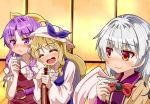 3girls arm_grab arm_up bangs blonde_hair blue_dress blush bottle bow bowtie braid brown_jacket closed_eyes commentary_request cup dress drunk eyebrows_visible_through_hair french_braid frown fusuma hair_ribbon hat holding holding_bottle holding_cup indoors jacket kishin_sagume long_hair long_sleeves looking_at_another looking_at_viewer medium_hair multiple_girls open_mouth parted_bangs pink_headwear ponytail puffy_short_sleeves puffy_sleeves purple_dress purple_hair red_dress red_eyes red_neckwear ribbon sakazuki shirt shirt_under_dress short_sleeves sideways_glance silver_hair single_wing sliding_doors smile sugiyama_ichirou touhou upper_body very_long_hair violet_eyes watatsuki_no_toyohime watatsuki_no_yorihime white_shirt wide_sleeves wings