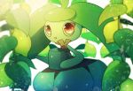 1girl ahoge day gen_7_pokemon green_hair highres holding light_rays long_hair no_humans open_mouth outdoors pink_eyes plant pokemon pokemon_(creature) solo standing steenee sunbeam sunlight twintails watering_can white_skin yukifuri_tsuyu