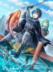 1boy 1girl armor black_armor black_cape blue_eyes blue_hair blue_sky byleth_(fire_emblem) byleth_(fire_emblem)_(male) cape closed_eyes clouds company_name copyright_name day fire_emblem fire_emblem:_three_houses fire_emblem_cipher fish fishing fishing_rod flayn_(fire_emblem) garreg_mach_monastery_uniform green_hair hair_ornament holding holding_fishing_rod kazura_enji long_hair long_sleeves official_art open_mouth outdoors pier short_hair sitting sky uniform water
