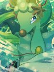 blue_eyes blue_hair blurry blurry_background blush gen_7_pokemon headpiece highres long_hair looking_at_viewer no_humans pearl_(gemstone) pokemon pokemon_(creature) primarina solo starfish water yukifuri_tsuyu