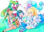 3girls alolan_vulpix eevee lillie_(pokemon) mao_(pokemon) multiple_girls pokemon pokemon_(anime) primarina shaymin suiren_(pokemon) tsareena