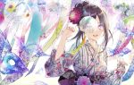 1girl aqua_nails bangs breasts brown_hair commentary_request eyebrows_visible_through_hair fingernails floral_print flower hair_flower hair_ornament hand_up japanese_clothes kimono kinokohime long_hair nail_polish obi original parted_bangs print_kimono purple_flower purple_nails sash sidelocks small_breasts solo striped upper_body vertical-striped_kimono vertical_stripes violet_eyes white_background white_kimono wind_chime
