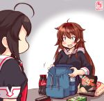 2girls ahoge artist_logo backpack bag bag_of_chips bangs black_hair black_serafuku bottle bow braid brown_hair candy chips chocolate chocolate_bar coca-cola cola commentary_request dated food hair_bow hair_flaps hair_over_shoulder hairband highres hood hood_down hoodie kanon_(kurogane_knights) kantai_collection long_hair long_sleeves multiple_girls open_mouth orange_eyes potato_chips red_bow remodel_(kantai_collection) school_uniform serafuku shigure_(kantai_collection) shiratsuyu_(kantai_collection) short_hair short_sleeves single_braid smile soda soda_bottle water_bottle
