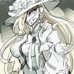 alternate_costume alternate_hairstyle blonde_hair dress flower hat long_hair lowres mask notoro overlord_(maruyama) ribbon shalltear_bloodfallen