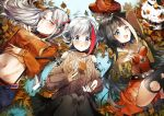 3girls admiral_graf_spee_(azur_lane) aran_sweater autumn_leaves azur_lane bangs black_hair blue_eyes blunt_bangs blush bow breasts calico cropped_jacket deutschland_(azur_lane) dress eyebrows_visible_through_hair finger_to_mouth glasses grey_hair groin hair_between_eyes hair_bow half-closed_eyes hat hat_removed headwear_removed large_breasts leaf long_hair looking_at_viewer maple_leaf midriff multicolored_hair multiple_girls navel open_mouth pleated_dress prinz_eugen_(azur_lane) redhead short_hair sidelocks silver_hair small_breasts smile stomach streaked_hair suspenders sweater two_side_up very_long_hair white_hair yane_(gokuderanyan)