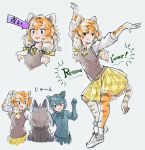 3girls :d animal_print arm_up bangs black_hair boots brown_vest character_request commentary_request dancing directional_arrow elbow_gloves eyebrows_visible_through_hair fang french_text gloves grey_background grey_hair hair_between_eyes hair_ribbon kemono_friends long_hair multicolored_hair multiple_girls multiple_views necktie open_mouth orange_hair outstretched_arm plaid plaid_skirt pleated_skirt print_gloves print_legwear ribbon shirt siberian_tiger_(kemono_friends) simple_background sketch skirt smile speech_stab tail tiger_print tiger_tail toki_reatle translated vest white_footwear white_hair white_shirt yellow_neckwear yellow_ribbon yellow_skirt