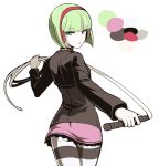 1girl ass choker color_guide flat_ass from_behind green_eyes headphones highres holding_whip light_green_hair looking_back phonon_(under_night_in-birth) pink_skirt short_hair shrug_(clothing) skirt solo striped striped_legwear tb_(spr1110) two-tone_legwear under_night_in-birth under_night_in-birth_exe:late[st] whip wireless