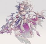 1girl armor dress dual_wielding floating hisahisahisahisa holding holding_spear holding_weapon horns long_hair original parted_lips platinum_blonde_hair polearm red_eyes solo spear torn_clothes weapon white_dress