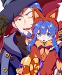1boy 1girl animal_hat beard blue_eyes blue_hair cat_hat facial_hair father_and_daughter fire_emblem fire_emblem:_the_blazing_blade fire_emblem_heroes gloves halloween_costume hat hector_(fire_emblem) inha_(ingha) lilina_(fire_emblem) one_eye_closed open_mouth pumpkin witch_hat