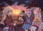 4girls alternate_costume animal animal_ears arms_up ayanami_(azur_lane) azur_lane bag bangs bird black_footwear black_legwear black_sweater blue_eyes blue_skirt blush boots bow breasts brown_eyes brown_hair casual chick closed_eyes closed_mouth clouds cloudy_sky collarbone commentary_request cross-laced_footwear dress eyebrows_visible_through_hair food frilled_dress frills hair_between_eyes hair_bow hairband hat high_ponytail highres holding holding_animal holding_tray horizon jacket javelin_(azur_lane) knee_boots lace-up_boots laffey_(azur_lane) light_brown_hair long_hair looking_at_viewer manjuu_(azur_lane) mini_hat multiple_girls ocean off_shoulder one_eye_closed open_clothes open_jacket open_mouth outdoors pantyhose pink_bow pink_dress pink_headwear pink_jacket pleated_skirt ponytail purple_hair purple_jacket purple_shirt rabbit_ears railing red_hairband red_jacket red_skirt ribbed_sweater shinopoko shirt shoulder_bag silver_hair sitting skirt sky small_breasts standing stretch sun sunset sweater thigh-highs tilted_headwear tray very_long_hair water wavy_mouth white_legwear z23_(azur_lane)