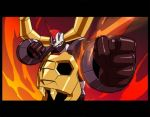 2006 clenched_hand clenched_hands face_mask fire gaiking gaiking:_legend_of_daikuu_maryuu gaiking_(dmg) horns mask official_art punching wings yellow_eyes