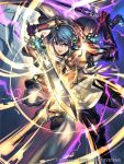 2boys alfonse_(fire_emblem) armor blue_eyes blue_hair company_name copyright_name fire_emblem fire_emblem_cipher fire_emblem_heroes holding holding_sword holding_weapon kin_g_of_kings lif_(fire_emblem) multiple_boys official_art open_mouth red_eyes shield short_hair sword weapon