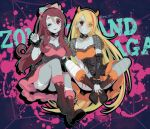 2girls bandages blonde_hair blue_skin boots breasts choker copyright_name demon_horns english_text facial_scar green_hair headband horns large_breasts long_hair long_skirt medium_breasts minamoto_sakura multicolored_hair multiple_girls nikaidou_saki one_eye_closed orange_hair polka_dot_ribbon ponytail red_eyes scar scar_on_cheek skirt splatter streaked_hair yuuna_minato zombie zombie_land_saga