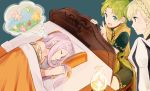 1boy 2girls bed blanket blonde_hair braid closed_eyes closed_mouth commentary_request crown_braid dreaming fire_emblem fire_emblem:_the_binding_blade fire_emblem_heroes green_eyes green_hair idunn_(fire_emblem) long_hair lugh_(fire_emblem) lying multiple_girls on_side open_mouth pillow purple_hair sharena shoochiku_bai short_hair short_sleeves sleeping twitter_username