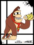 1other animal ape banana donkey_kong donkey_kong_(series) food fruit gorilla gorillaz grin holding holding_fruit male necktie nintendo nintendo_ead no_humans no_pupils paon parody rareware retro_studios sora_(company) splatter style_parody super_smash_bros. super_smash_bros._ultimate super_smash_bros_64 teeth xeternalflamebryx