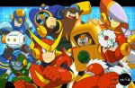 6+boys airman android arm_cannon blue_eyes bubbleman crashman drill fire flashman heatman metalman multiple_boys official_style open_mouth quickman red_eyes rinji_(bonus-level) robot rockman rockman_(classic) smile weapon woodman