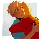 2boys :o alphonse_elric backlighting blonde_hair blue_shirt braid brothers close-up coat commentary dress_shirt dutch_angle edward_elric english_commentary expressionless eyebrows_visible_through_hair eyes_visible_through_hair facing_away fingernails flamel_symbol from_behind fullmetal_alchemist grey_background hands_on_another's_back highres hug huyandere leaf leaf_background looking_at_another male_focus multiple_boys parted_lips red_coat shaded_face shirt short_sleeves siblings simple_background sunlight surprised upper_body white_background yellow_eyes