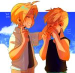 >_< 2boys :d ^_^ ahoge alphonse_elric blonde_hair blue_sky blush brothers clenched_hands clenched_teeth closed_eyes clouds cloudy_sky crying dappled_sunlight day dress_shirt ear_blush edward_elric eyebrows_visible_through_hair finger_to_cheek fingernails fullmetal_alchemist furrowed_eyebrows giggling hand_on_another's_head hands_on_own_face huyandere image_sample lowres male_focus multiple_boys nervous open_mouth outdoors petting sad shaded_face shirt short_sleeves siblings sky smile standing sunlight tank_top tears teeth tumblr_sample upper_body
