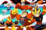 6+boys android arm_cannon blue_eyes bomb bombman cutman elecman fire fireman gutsman iceman multiple_boys official_style open_mouth rinji_(bonus-level) robot rockman rockman_(classic) smile watermark weapon